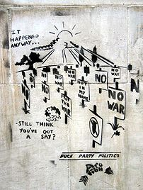 Political Graffiti on the South Bank of the Th...